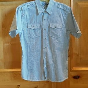 Boys Blue/White Short-sleeve Collared Button-down